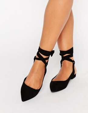 ASOS LINGUINI Lace Up Pointed Ballet Flats